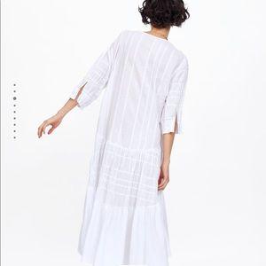 Zara Dresses - ZARA White Gathered Midi Dress